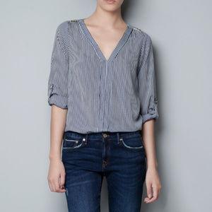Zara Striped Studded Shoulder Blouse
